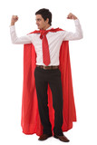 business leadership concept with a young hero businessman poster