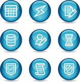 Database web icons, blue glossy sphere series poster