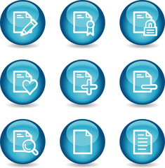 Document web icons, blue glossy sphere series set 2
