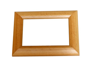 Wooden photoframe, isolated on white with clipping path