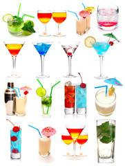 Many cocktails isolated on white background