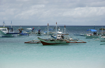 Boats in ocean. Philippines. Borocay