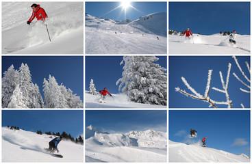 Skifahrer, Snowboarder in Winterlandschaften