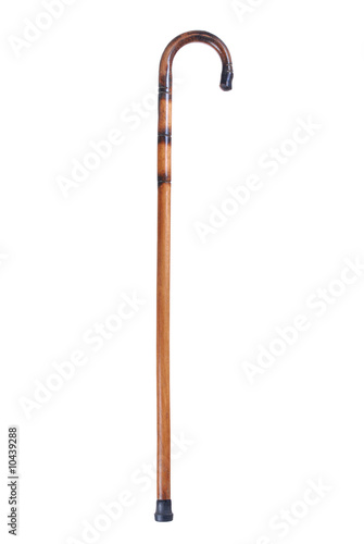Wooden cane isolated on white background