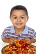 3-year-old child and pizza
