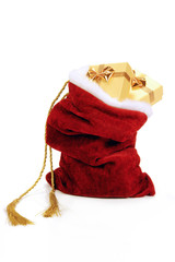 Santa Claus bag full of christmas presents over white