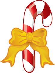 Illustration of a bow tied around a candy cane