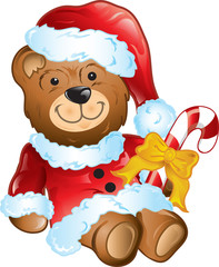 Illustration of a stuffed christmas bear in a santa suit.