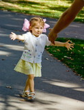 Little girl running to daddy poster