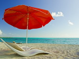Red Beach Umbrella on idyllic sand beach. Mexico, Cozumel poster