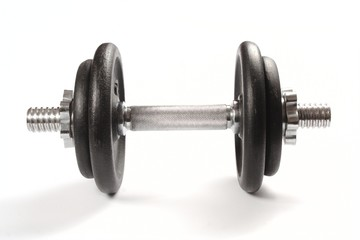 Old dirty dumbbells isolated on white background.
