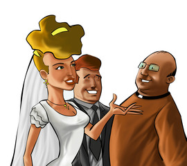 A wedding ceremony with the couple and the preacher