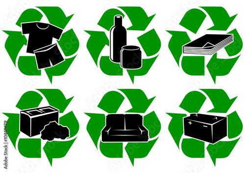 Symboles de recyclage des types de déchets (détouré)
