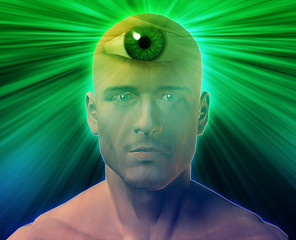 Man with third eye, psychic supernatural senses