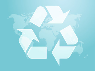 Recycling eco symbol illustration of three pointing arrows