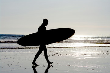 surfing at a nice beach