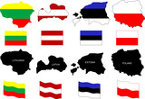 vector illustration of Baltic countries maps with flags poster