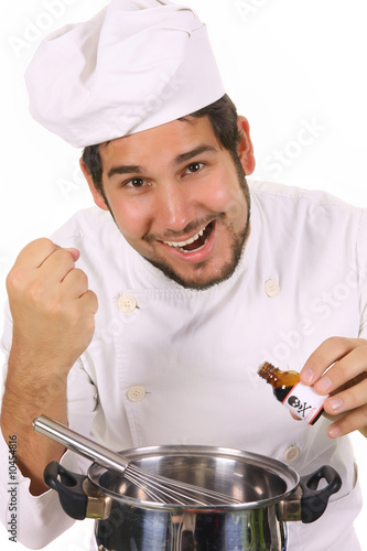 young chef preparing lunch with poison bottle poster