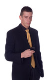 young businessman sending SMS poster