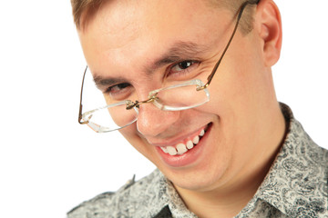 Smiling young man in glasses