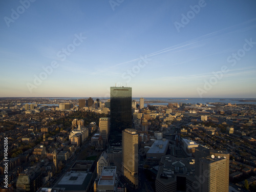 Aerial view of Boston City skyline at sunset.