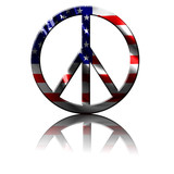 peace symbol with an integrated american flag poster