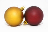 Two colored Christmas ornament sphere.