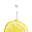 fresh water drop on lemon isolated on white