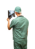 surgeon in green uniform studio isolated
