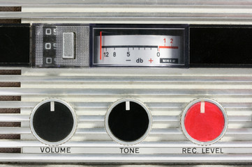 Close up  of classic open reel tape recorder