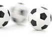 Soccer balls with motion blur isolated over a white background