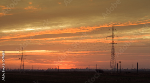 Industrial landscape: powerlines at dusk