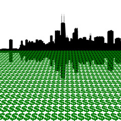 Chicago Skyline with dollars illustration