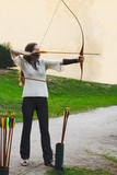 archer beauty girl plays arrow bow shooting sport stay side poster