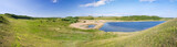 Panorama of beautiful green valley. Pskov region, Russia. poster