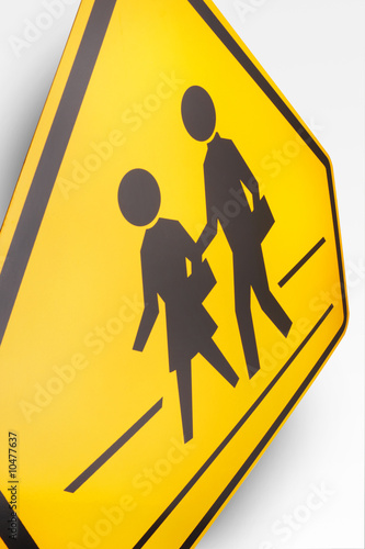 Children Crossing Road Sign on white background