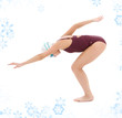 bright picture of swimmer woman with snowflakes