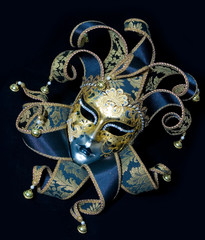 Venetian mask on black background