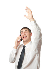 happy businessman calling by phone and rising up his hand