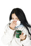 Women sneezing nose having cold
