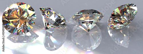 Four brilliant cut clear diamonds - 10481487