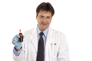 Doctor or vet showing medicine, herbal remedy or ointment.