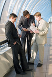 Three young businessmen discuss results of work poster