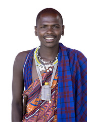 Portrait of a masai in front of a white background