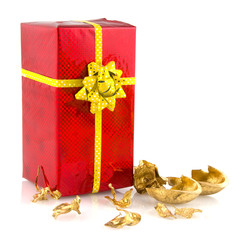 Luxury present in red with golden ribbon ald bow