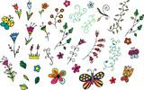 Fototapety Blumen und Schmetterlinge im Vektorformat