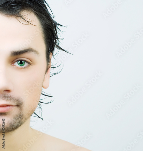 Portrait of young man after bath.