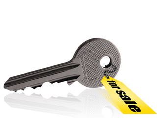 Silver key with isolated background.
