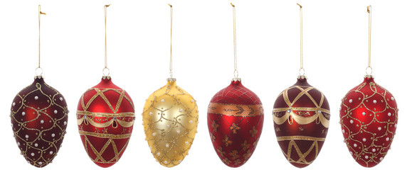 christmas ornaments, photo on the white background