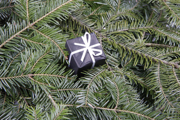 Christmas decoration present and fir branch